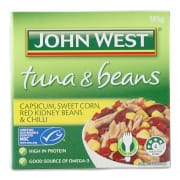 JOHN WEST Tuna & Beans Capsicum Sweet Corn Red Kidney Beans & Chilli 185g