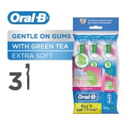 ORAL B ultrathin green tea gum care extra soft manual toothbrush 3 count polybag