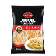 Shredded White and Red Cheddar Cheese 225g