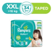 Baby Dry Tapes Diapers XXL 34s Over 16kg