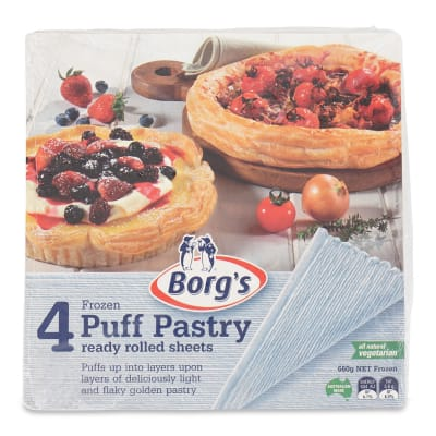 BORGCRAFT Frozen Puff Pastry Vegetarian Sheet 4s 600g