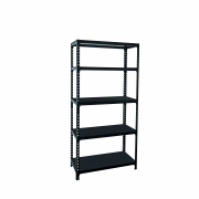 5 Tier Heavy Duty Boltless Metal Rack Black L91 x D40 x H182cm