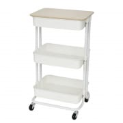 3 Tier Trolley with Wheels and Table Top White