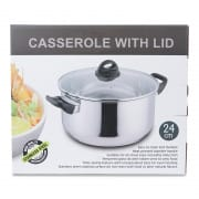 Stainless Steel Induction Pot with Glass Lid 24cm