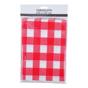 Red and White Checkered Plastic Table Cloth