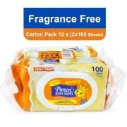 Pureen Baby Wipes Fragrance Free 12 X (2 X 100s)