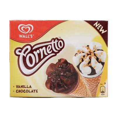 WALL'S Ice Cream Cornetto Cone - Classic Mix Vanilla & Chocolate 4sX110ml