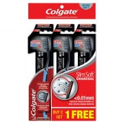 Colgate SlimSoft Charcoal Gold Toothbrush Valuepack 3s (Ultra Soft)